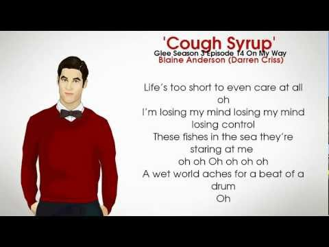 The Glee Cast - Cough Syrup - Blaine Anderson (Lyrics)