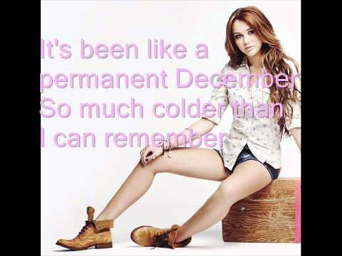 Miley Cyrus Permanent December (with lyrics on the screen)